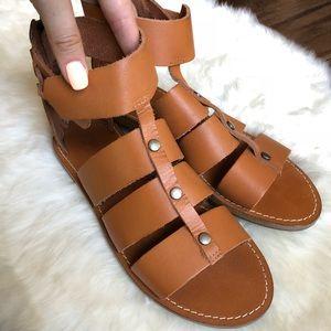 Madewell Rowan Brown Leather Gladiator Sandals 9